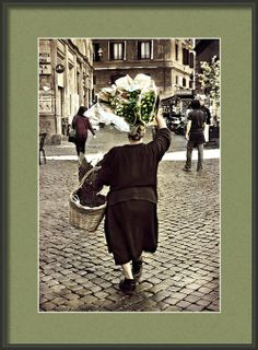 Framed Photo Roman Woman Selling Flowers on Cobblestone Street in Rome, Italy.  Travel Street Photography.