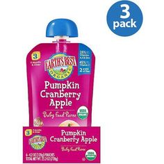 Earth;s Best Organic Pumpkin Cranberry Apple Stage 3 Baby Food Puree, 4.2 oz (Pack of 3), Multicolor