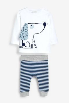 White/Blue Dog GOTS Organic Stretch T-Shirt And Leggings Set (0mths-3yrs) Newborn Boy Clothes, Organic Cotton T Shirts, Blue Dog, Leggings, Pj Sets, Simple Dresses, Baby Boy Outfits, Rompers, Unisex