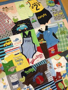 First Year Quilt - Custom Made - Baby Clothes - Memory Quilt. via Etsy.