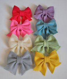 Felt Bow Tie Pattern Tutorial with Printable Templates 3 Bow Styles Included Hair clip, Baby Bow Tie, Baby Bow Headband. $4.99, via Etsy.