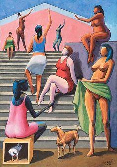 Carybé (1911-1997), nome artístico de Hector Julio Paride Bernabó, pintor figurativo brasileiro de origem argentina, cuja estilização g...