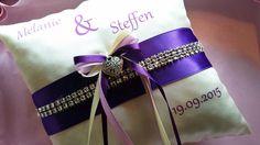 Ringkissen mit Namen, von mir für eine liebe Braut handgefertigt :-) www.nadelspitze.net/shop