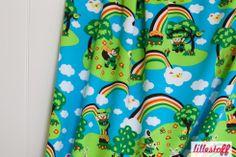 Lillestoff Glücksklee Regenbogen Wolken Vogel Hase BIO Jersey Meterware