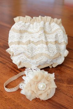 Vintage Tea Stained White Lace Diaper Cover With by BeeBeeBaubles, $35.00