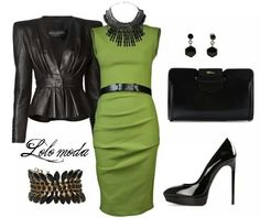#Lolo #moda Chic #dress with leather #jacket