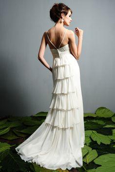 A-Line Spaghetti Straps Chiffon Sweep Train Wedding Dress (WGH50 [Item Code:#WGH500637] - $155.00 _ Cheap Wedding Dresses,Cheap prom dresses...