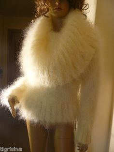 Mohair Hand Knitted Fuzzy Cream Cowl Neck Sweater Jumper Size s M Bust Fluffy Sweater, Mohair Sweater, Fashion Colours, White Sweaters, Sweater Outfits, Cowl Neck, Hand Knitting, Fur Coats, Lava