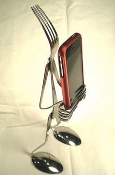 The Most Awesome iPhone Stand Ever Made... of Cutlery