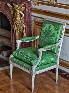 The Dauphins Bedchamber Versailles, Royal Furniture, French Furniture, Wingback Chair, Armchair, Fainting Couch, French Chairs, Classic Interior, Take A Seat