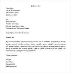 sample letter of intent for a job