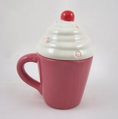 Beautiful Colourful Ceramic Cupcake Mug with Lid New | eBay