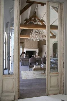 beautiful beamed ceilings | From washed wood floors to beamed ceiling, this spacious and beautiful ...