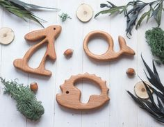 Organic Wooden Teether. Beech Teething Toy. Hand-carved Teether. Natural Baby Toy. Eco Friendly Infant Toy. Christmas gift. Newborn gift.