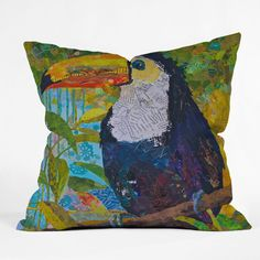 """DENY Designs Elizabeth St Hilaire Nelson Toucan 1 In/ Out Pillow 26"""" Ships Free!"""