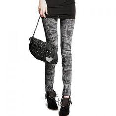 afbc2076e5e82 $1.99 Retro Style Splicing Pattern Design Elastic Imitated Jeans Skinny  Women's Leggings - Black One Size