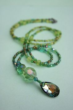 Green Beaded long Necklace pendant Swarovski Crystal by EmmaEmJD, £24.50