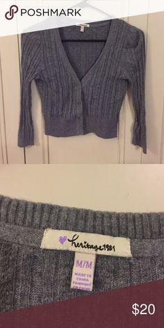 Heritage 1981 Grey Cropped Cardigan Grey cropped cardigan. 3/4 sleeve cut. Heritage 1981 Sweaters Cardigans