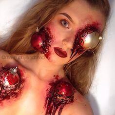Christmas tree decorating gone awry. | 18 Gory Christmas Makeup Looks That Will Give You Nightmares