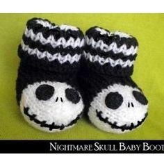 Nightmare Skull Baby Booties....girl or boy my kid is wearing these