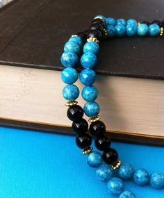Turquoise and Jet Gemstone Necklace by BrisCraftyShop on Etsy, $40.00
