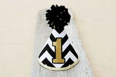 1st Birthday Black and Gold Party Hat Mr. by LaLaLolaShop on Etsy