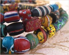 Mixed strand of Antique African Trade Beads.