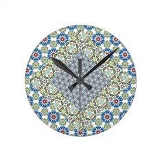 Shop Patchwork Floral Pattern Round Clock created by Clockette. Floral Clock, Floral Wall, Create Yourself, Pattern, Design, Home Decor, Scrappy Quilts, Decoration Home, Flower Wall