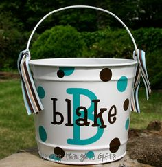 Personalized Easter Bucket Basket  10 quart by happythoughtsgifts