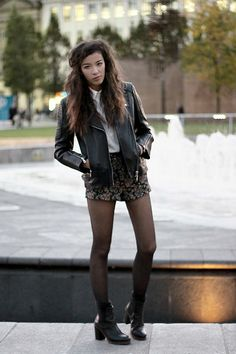 Whistles Patti Leather Biker Jacket, Asos Broderie Panel Shirt, Topshop Floral Tapestry Shorts, Deena And Ozzy Heeled Chelsea Boots