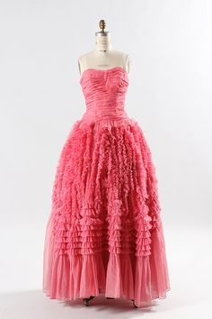 1950s prom dress small / 50s pink tulle dress  by TheParaders, $322.00
