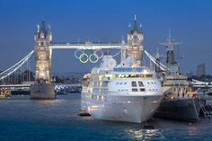 Silversea's Silver Cloud in London on River Thames