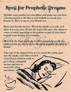 Spell for Prophetic Dreams Book of Shadows Pages BOS Witchcraft Wiccan Spell | eBay