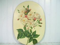 Vintage White Floral Large CenterPiece Trivet Board Coaster - Retro Rose Bouquet Pimpernel Style Masonite Hot Pad - Mid Century Garden Decor $14.00 by DivineOrders