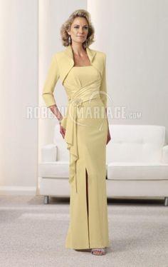 Boléro sans bretelle satin mousseline robe mère de mariée  [#ROBE209215] - robedumariage.com