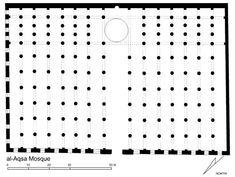 Mezquita de al-Aqsa, explanada del Templo en Jerusalén. Erigida Abd al-Malik y continuada por al-Walid I entre el 707 y 709. Sala de oraciones de 15 naves perpendiculares a la qibla, la central más ancha. Se dispuso una nave transversal más ancha y cubierta con cúpula, frente al mihrab. Disposición en T