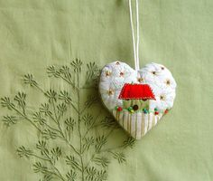 "beautiful handmade heart ""Home is where the heart is"" Textile Ornament by BozenaWojtaszek on #Etsy @textile_cuisine"