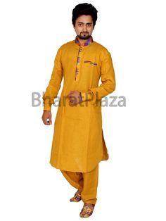 Fashionable mustard color linen kurta with contrast patches on collar. Item code: SKB1022P http://www.bharatplaza.com/new-arrivals/kurta-pyjamas.html