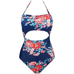 Cocoship Red Pink & Navy Blue Middle Cutout Floral Swimsuit One Piece... ($26) ❤ liked on Polyvore featuring swimwear, one-piece swimsuits, red swimsuit, one piece monokini swimsuit, red one piece swimsuit and monokini swimsuits