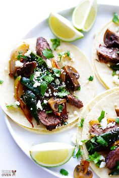 Steak, Poblano and Mushroom Tacos