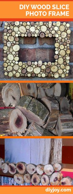 DIY Wood Slice Picture Frame | Rustic Home Decor Ideas