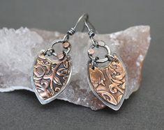 Copper earrings - mixed metal earrings - silver and copper earrings - bohemian earrings - boho mixed metal earrings - lightweight earrings - metal clay ears - Mixed Metal Jewelry, Metal Clay Jewelry, Copper Jewelry, Fine Jewelry, Urban Jewelry, Jewelry Making, Enamel Jewelry, Crystal Jewelry, Jewelry Shop