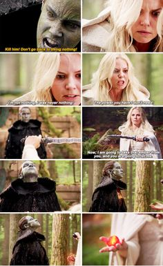 """Kill him! Don't go back to being nothing!"" - Dark Nimue and Emma Swan #OnceUponATime"