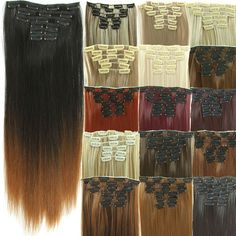 "Cheap 23"" Synthetic Straight Hair Piece 16 Clip In Hair Extensions 6 pcs/set False Hair piece Synthetic Hair Extension Hairpiece"
