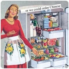 Anne Taintor Square Magnet or We Could Order Chinese
