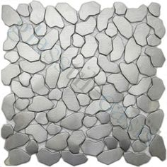 ISI  Backsplash, Unique Shapes, Cobblestone, Brushed, Stainless Steel, Metal
