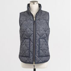 J crew factory printed puffer vest Navy. New with tag. Price firm unless bundled. J. Crew Jackets & Coats Vests