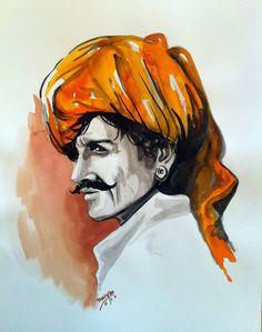 original watercolor portrait of Indian tribal man