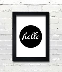 A3 Typography Poster, modern, Black & White, apartment decor -hello