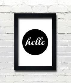 A3 Typography Poster, modern, Black & White, apartment decor -hello